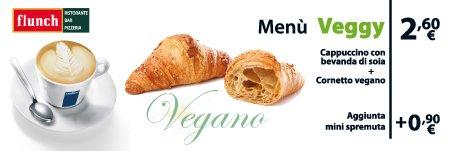 Menu Veggy - Cappuccino di soia e cornetto vegano a 2,60€