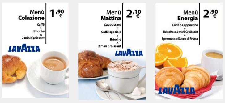 menu caffè