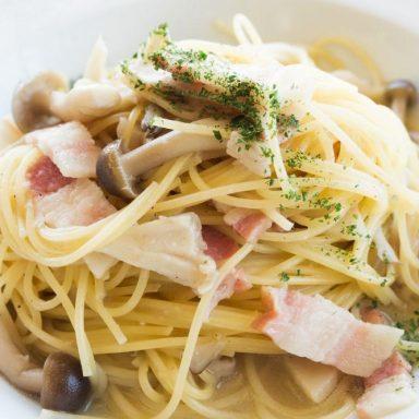 spaghetti pancetta e funghi Flunch